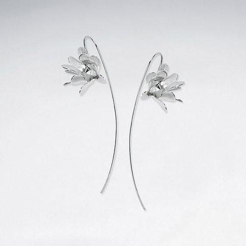 Brushed Silver Flowers Threader Hook Earrings