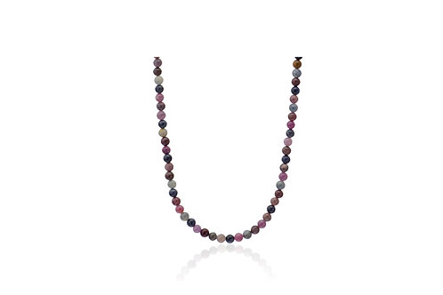 Sterling Silver Gold Plated Sapphire Coral Mix Ball Necklace