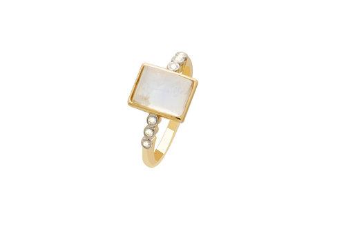 18K Gold Diamond Moonstone Rectangle Ring