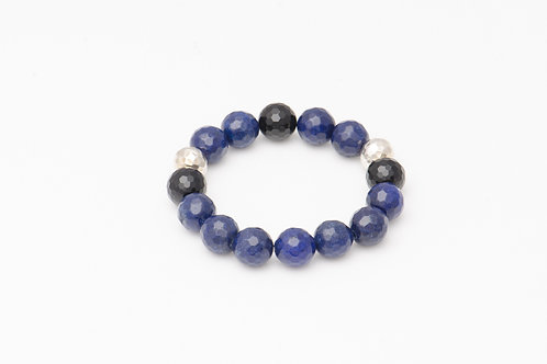 Dark Blue Agate Ball Bracelet with Silver Beads