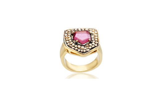 Sterling Silver Gold Plated Tourmaline Diamond Shape Ring