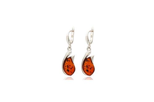 Sterling Silver Amber Teardrop Safe Hook Earrings