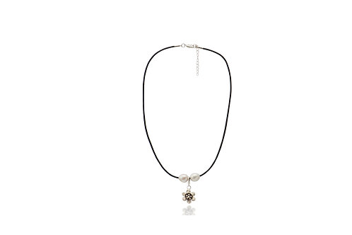 Sterling Silver White Fresh Water Pearl Flower Charm Leather Necklace