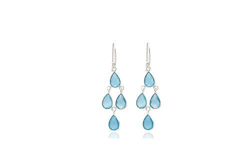 Sterling Silver Blue Chalcedony Stone Tear Drop Diamond Shape Earrings