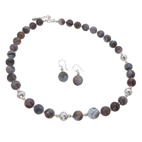 Grey Lace Agate Necklace