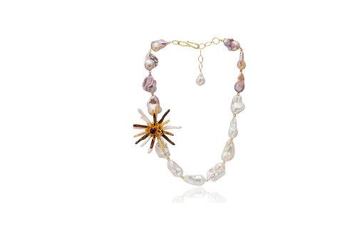 Sterling Silver GP FW Baroque & Biwa Pearl Amethyst Mix Gem Flower Necklace