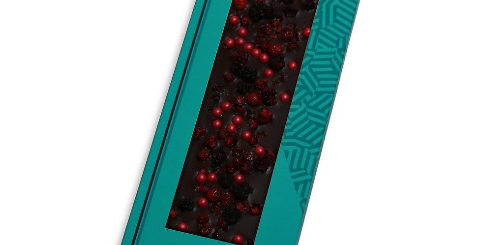 Chocolate Negro 70% con Moras y Grosellas Liofilizadas con perlas crujientes