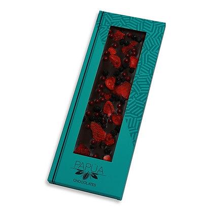 Chocolate Negro 70% con Fresas y Arándanos Liofilizados con perlas Framboise