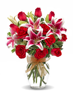 Rose and Stargazer Lily Bouquet