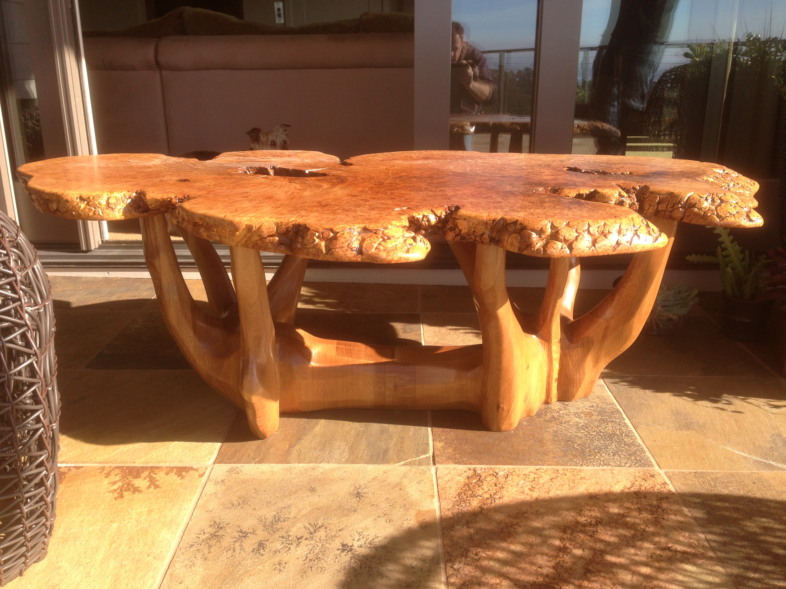 Burl Slab Carved Coffee Table