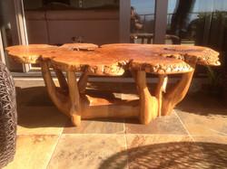 Burl Slab Carved Coffee Table