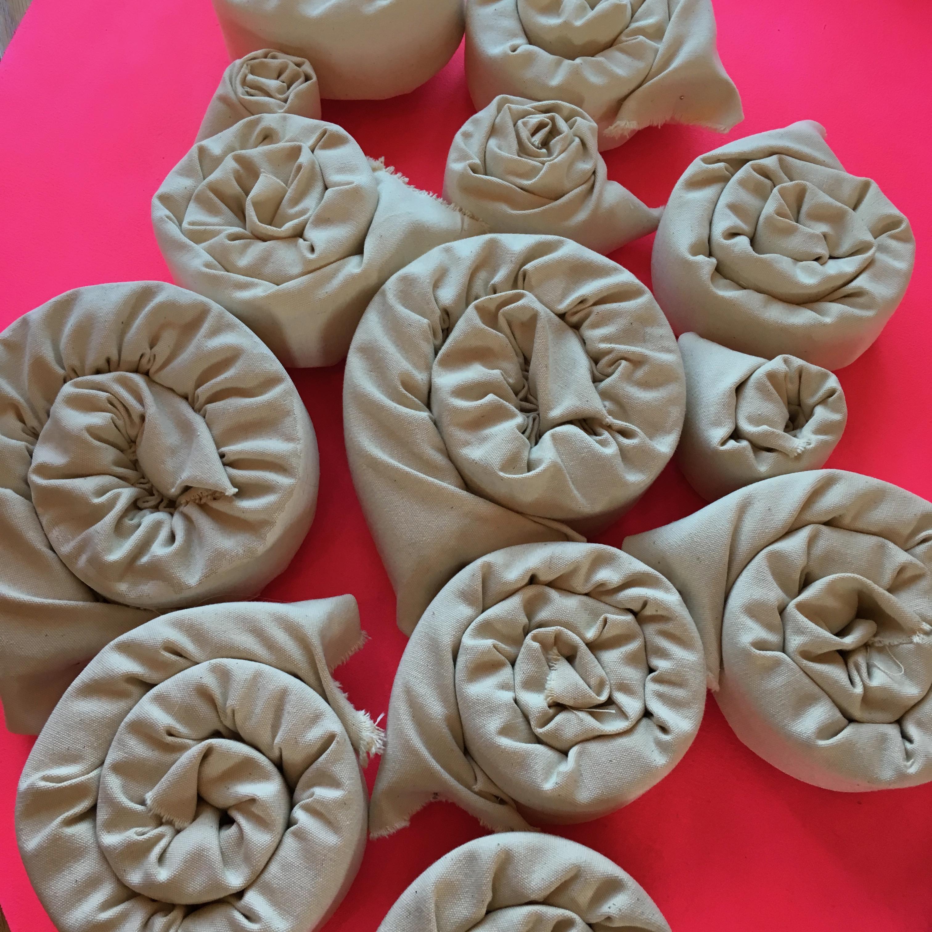 canvas on foam rolls