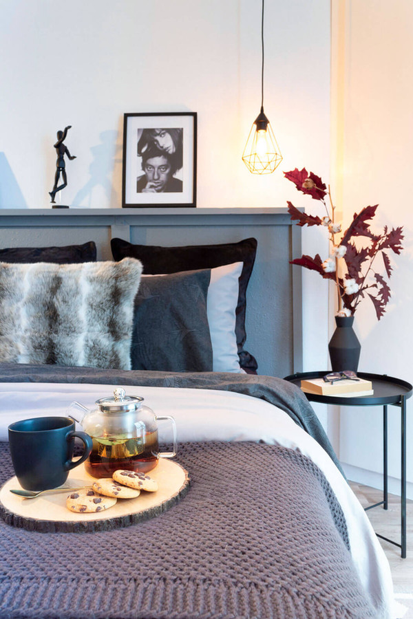 Charming bed after home staging