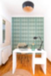 Bureau décoré avec papier peint Juno de papelesdelos70