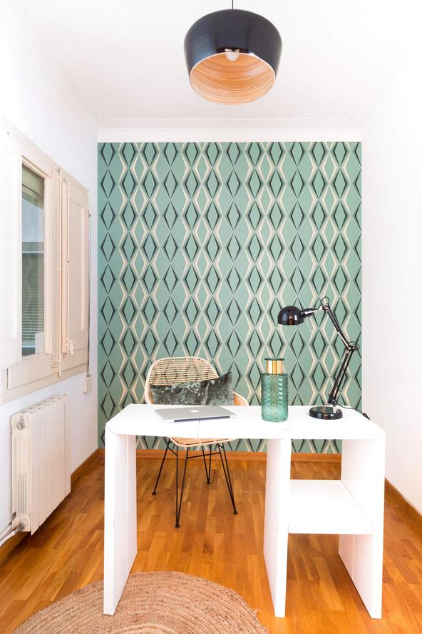 Despacho decorado con papel pintado Juno de papelesdelos70