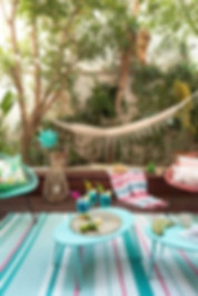 Patio décoré avec un hamac 100% coton de Home on earth