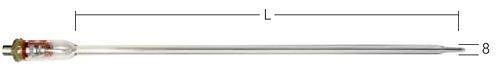 Termoføler TPN 132-xxx, Ø 8.0 mm - Til aggressive væsker
