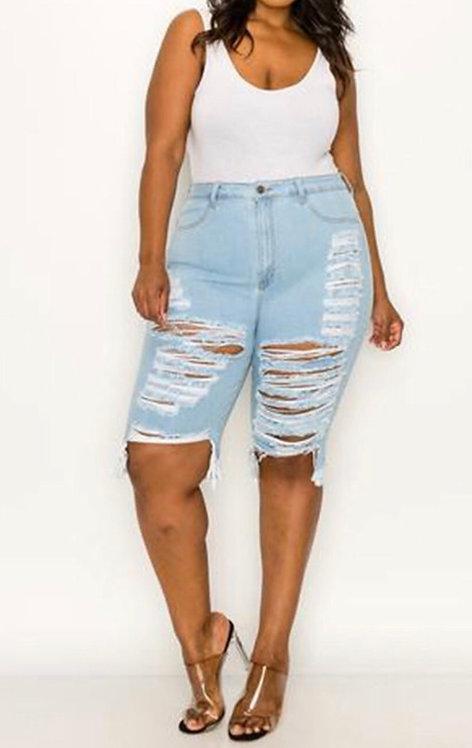 Destroyed Denim Bermuda Shorts