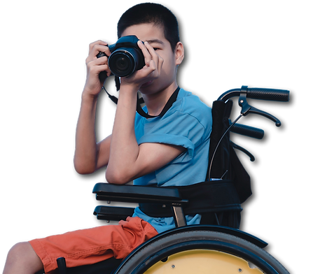 asian-special-child-on-wheelchair-is-hap