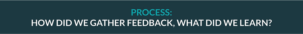 Process: How did we gather feedback, what did we learn?