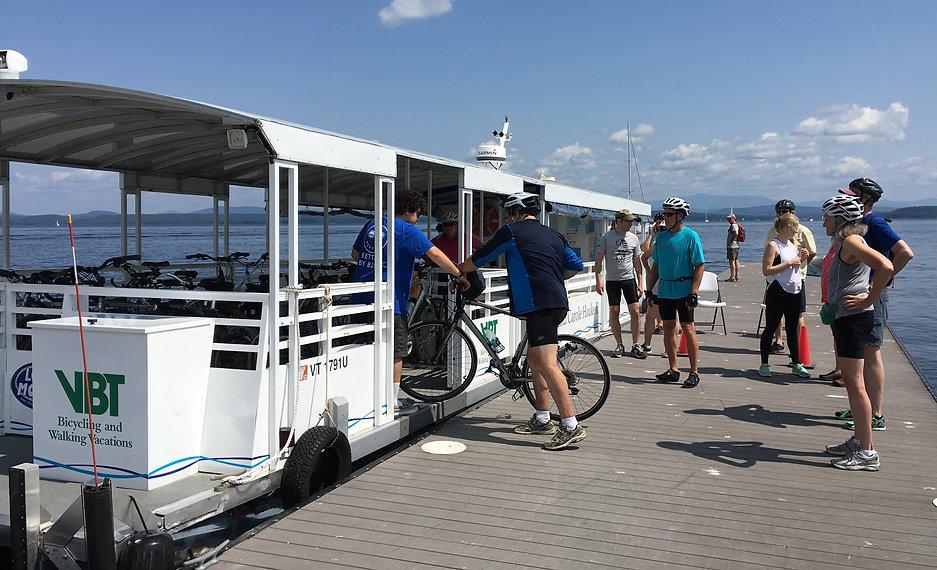 Bikers from Burlington boarding the Causeway Bike Ferry