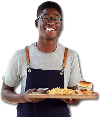 portrait-of-waiter-serving-food-to-custo