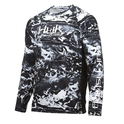 Huk Men's Pursuit Camo Vented Long Sleeve, Blackwater-Large