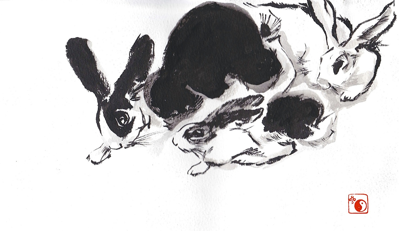 Bunnies (Chinese brush)