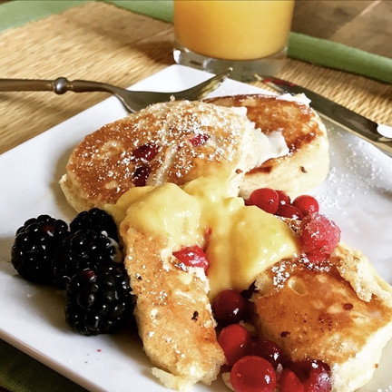 curd and pancakes breakfast