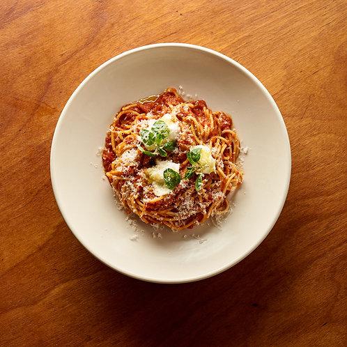 Spaghetti Napoli with buffalo mozzarella