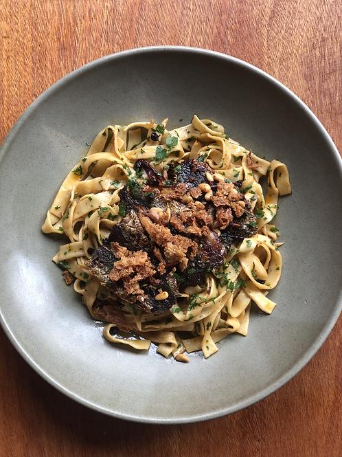 Sardine Tagliatelle with herbs, pine nut and crumb