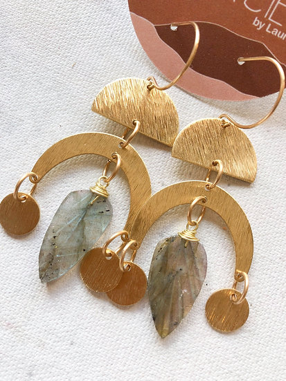 Labradorite leaves earrings