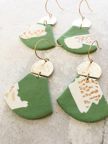 Green room earrings