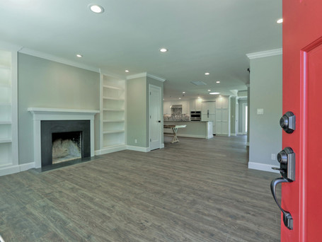 Living Room, Red Front Door, Fireplace, Recessed Book Shelf, Custom Built-ins, Open Plan, Reception Room, San Carlos