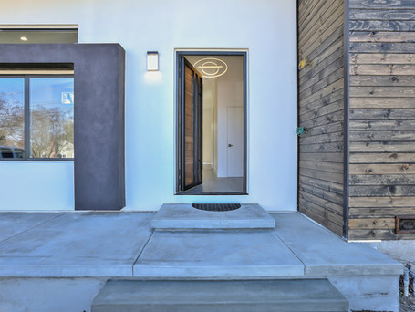 modern house frontage, curb appeal, entrance