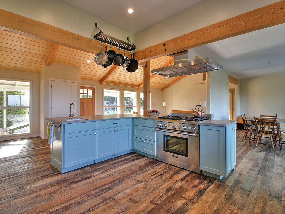 kitchen, great room, exposed beams