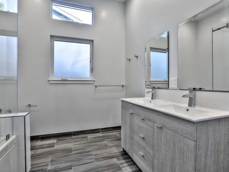 master bath, gray color scheme, double vanity