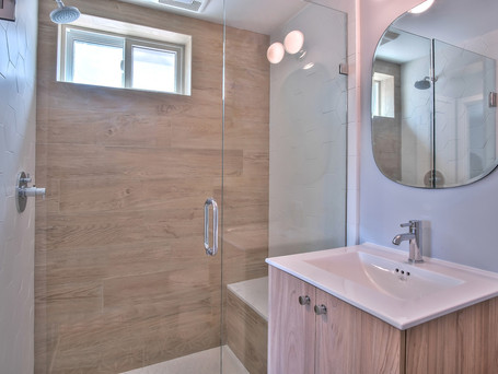 Bathroom, Shower, Wood-Look Tile, Tile Accent Wall