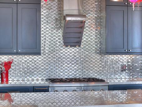 Mirrored Tile, Metal Back Splash