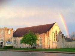 church with rainbow