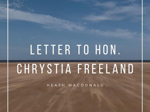 Letter to Honourable Chrystia Freeland, Minister of Finance
