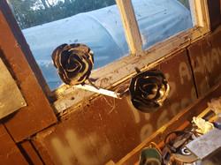 Metal Roses in the workshop