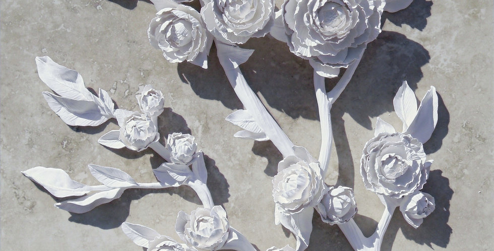 White Porcelain Peony Branches