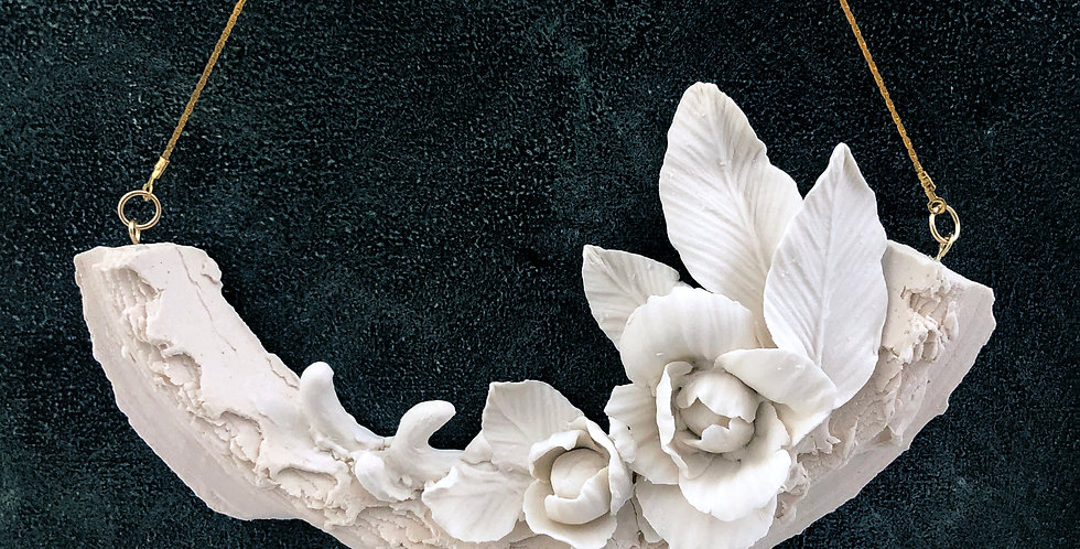 Ceramic Wall Art - Unique Handmade Porcelain  Sculpture -Flower from the Stone