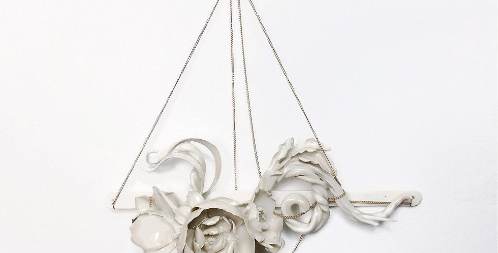 Ceramic Wall Art - Unique Handmade Porcelain  Sculpture - Gold Hanging Floral