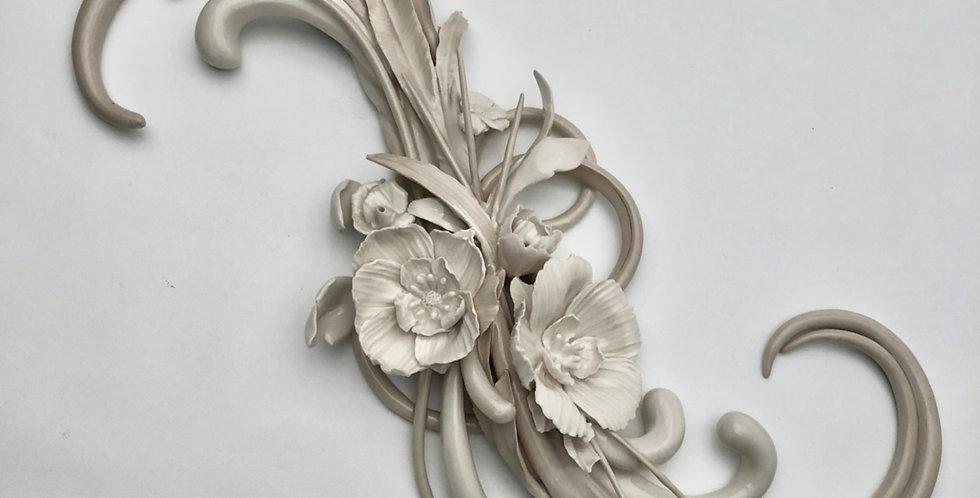 Ceramic Wall Art - Unique Handmade Porcelain  Sculpture - Floral Burst