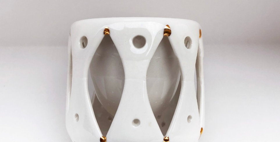 Double Wall Ceramic Espresso Mug - Gold & Cream 2oz.