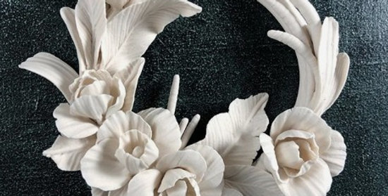 Ceramic Wall Art - Unique Handmade Porcelain  Sculpture - Wild Roses Floral