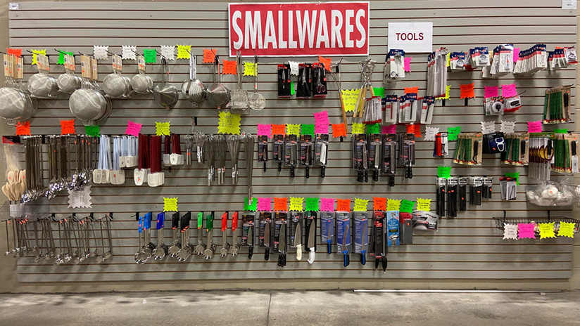 Whisks, knives, spatulas, thermometers,