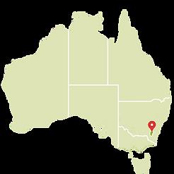 Canberra no mapa
